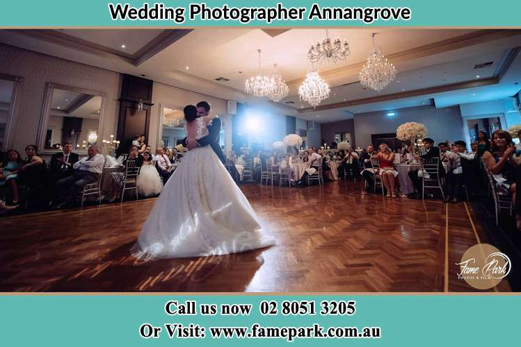 Photo of the Bride and the Groom hugging at the dance floor Annangrove NSW 2156