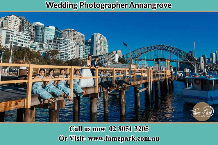 Photo of the Bride and the Groom with the entourage at the bridge Annangrove NSW 2156