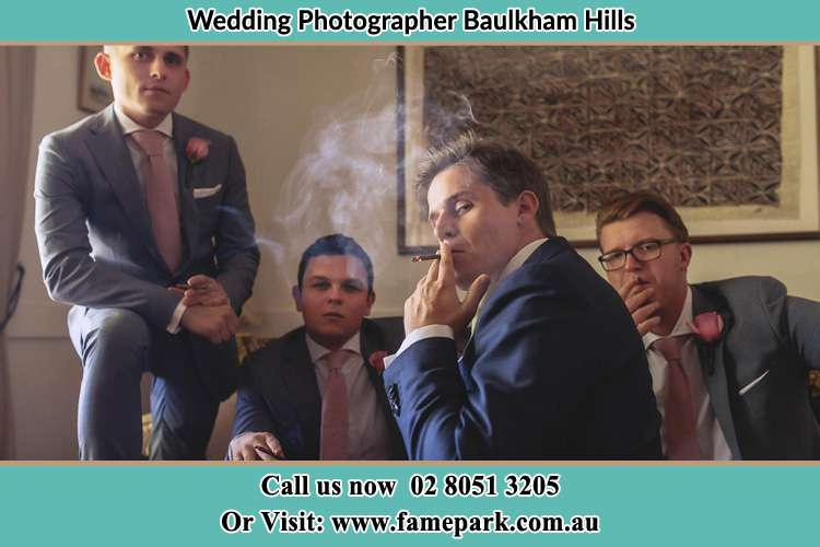 Photo of the Groom and the groomsmen relaxing Baulkham Hills NSW 2153