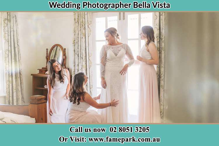 Photo of the Bride and the bridesmaid preparing Bella Vista NSW 2153