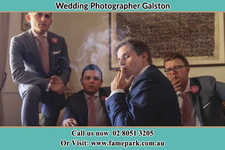 Photo of the Groom and the groomsmen relaxing Galston NSW 2159