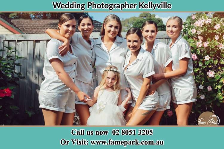 Photo of the Bride and the bridesmaids with the flower girl Kellyville NSW 2155