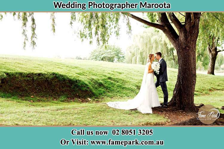 Photo of the Bride and the Groom kissing under the tree Maroota NSW 2756