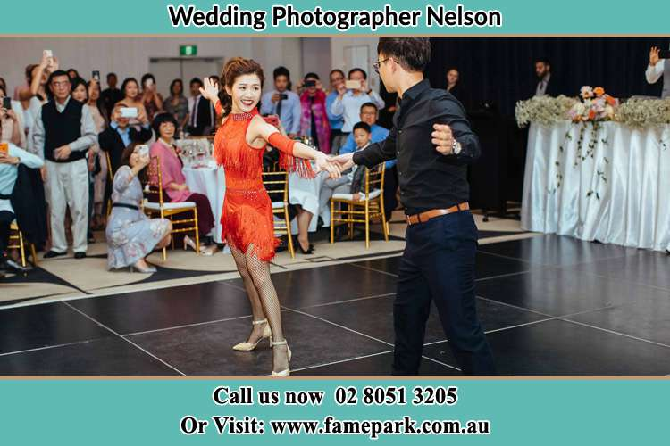 Photo of the Bride and the Groom dancing on the dance floor Nelson NSW 2765
