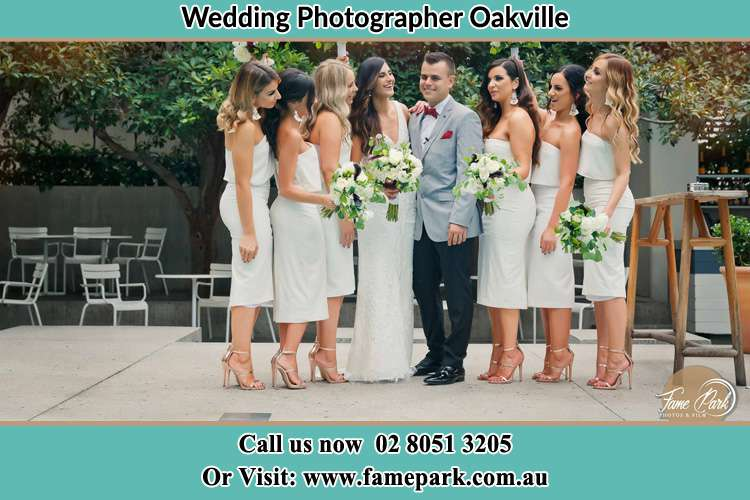 Photo of the Bride and the Groom with the bridesmaids Oakville NSW 2765