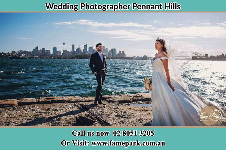 Photo of the Groom and the Bride near the sea front Pennant Hills NSW 2120