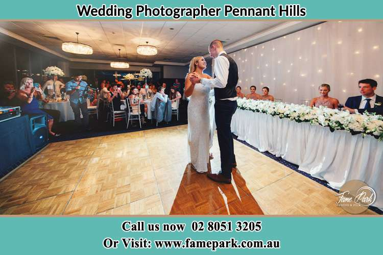 Photo of the Bride and the Groom dancing on the dance floor Pennant Hills NSW 2120
