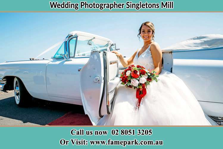 Photo of the Bride just went out the bridal car Singletons Mill NSW 2775