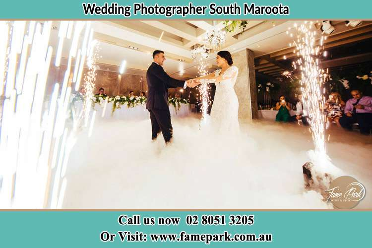 Photo of the Groom and the Bride dancing at the dance floor South Maroota NSW 2756