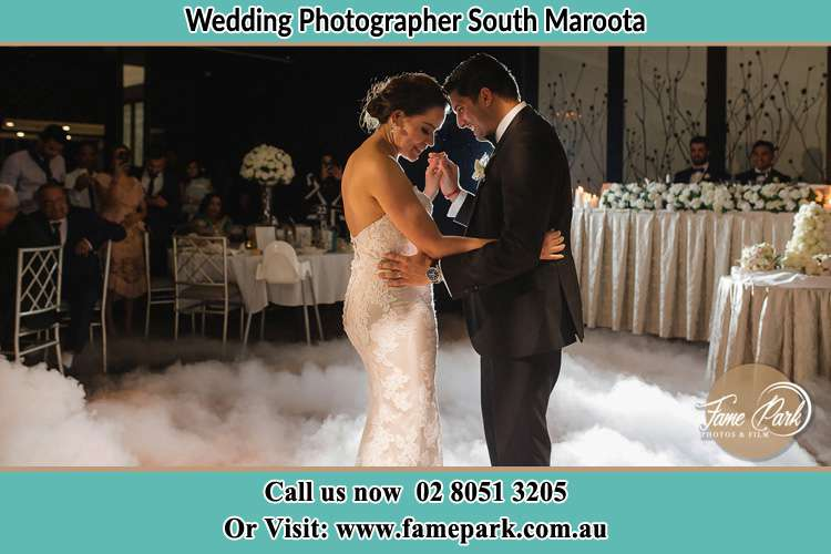 Photo of the Bride and the Groom dancing at the dance floor South Maroota NSW 2756