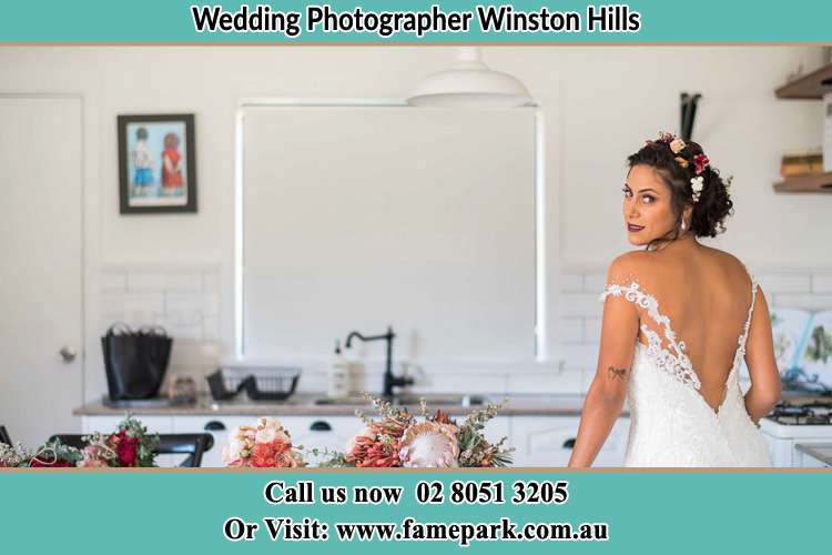 The Bride striking a pose on the camera Winston Hills NSW 2153